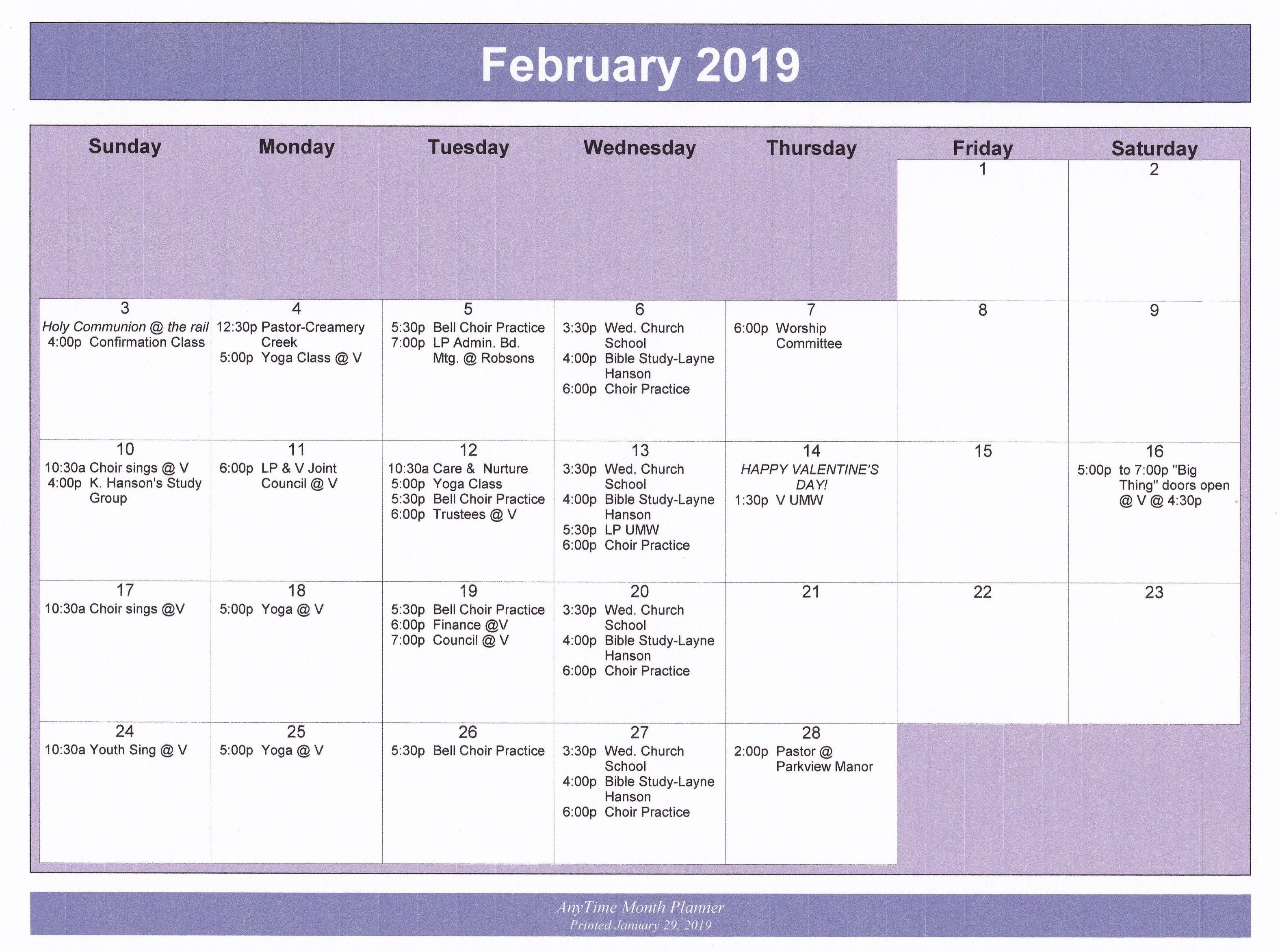 Calendar Feb 2019.Feb 2019 Calendar Liberty Pole And Viroqua United Methodist Churches